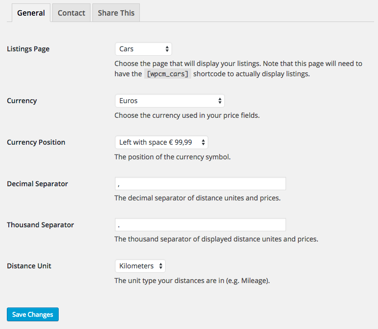 Set the correct unit types in your settings page