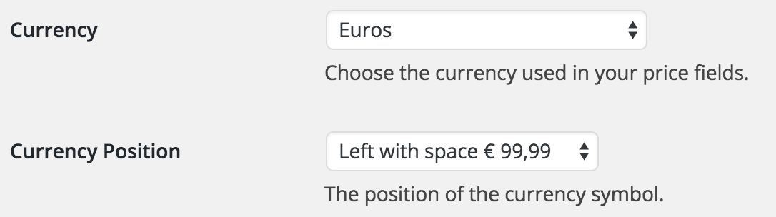 You can set the currencies via the plugin settings