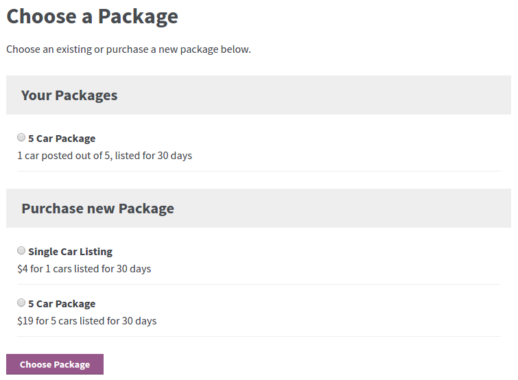 Users can choose one of the available packages when creating a listing on you website