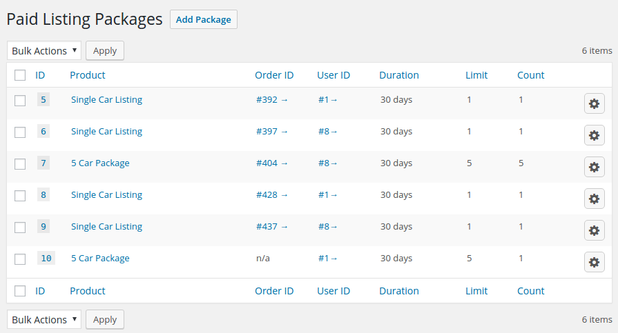 List of packages purchased by your users