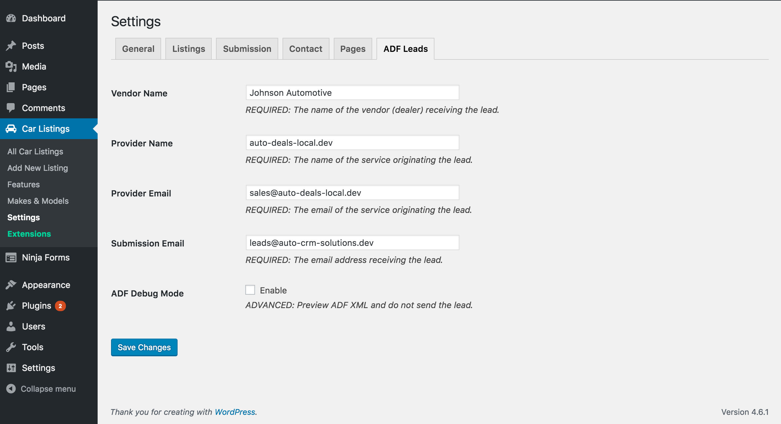 WP Car Manager - ADF Leads Settings