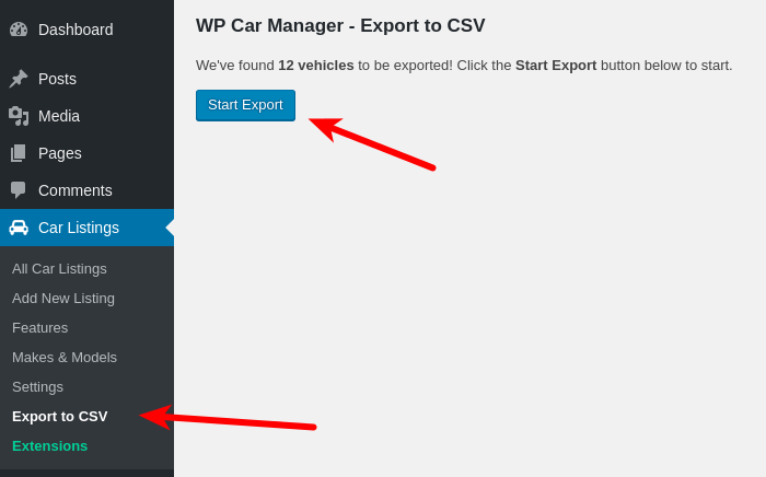 "Press the ""Start Export"" button to download the CSV file"